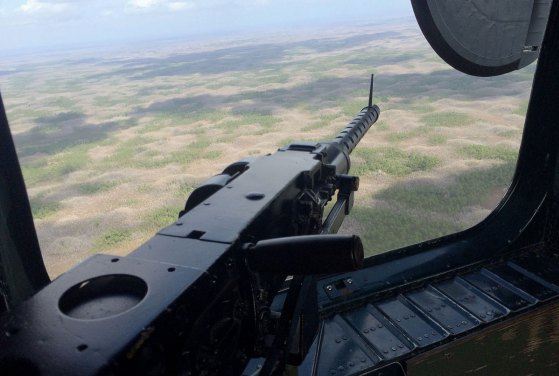 A view from the tail gunner's seat in a B-24J WWII fighter plane. (Photo/Katie Egan)